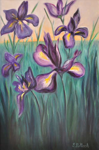Irises, Reaching for the Sky, oil, $$650.0000